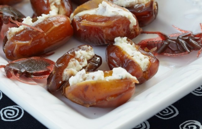 Stuffed roach. Dates with cheese, nuts and herbs for Halloween