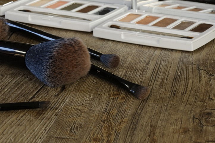 make up brushes and nude palettes