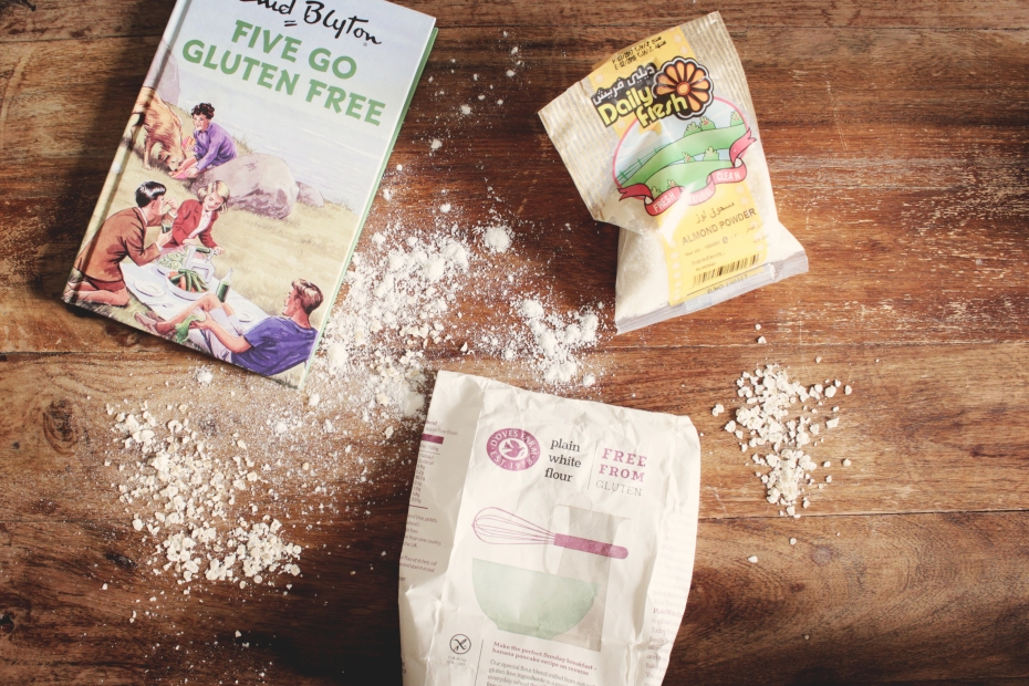 Enid Blyton Five Go Gluten Free, Daily Fresh Almond Flour, Dove's Farm Plain White Flour Free From Gluten