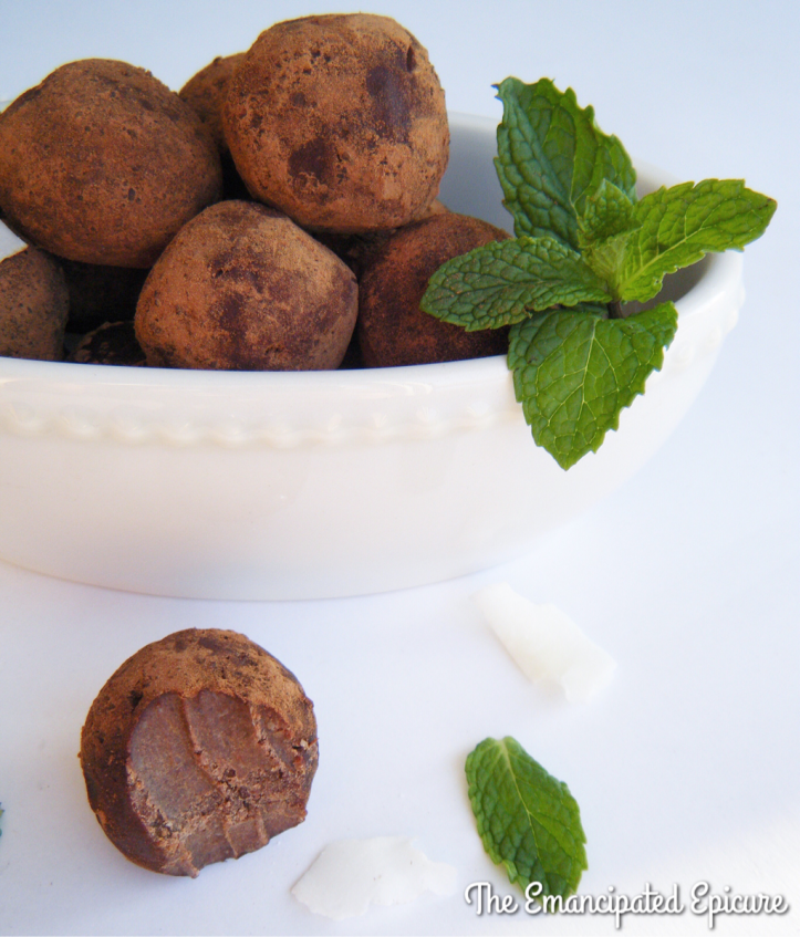 Bowl full of AIP compliant mint chocolate truffle bites