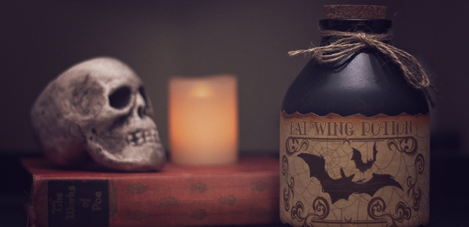 Skull on a book with a candle and a bottle of bat wing potion